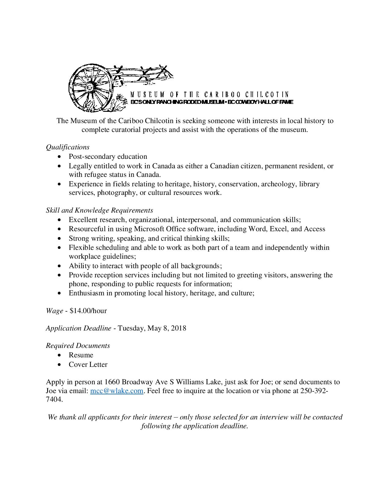 museum curator cover letter